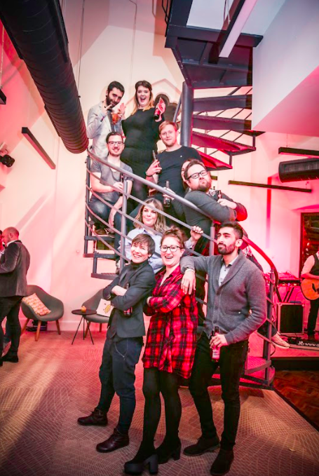 Headspace group posing on stairs for a photo